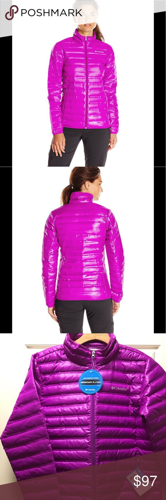 Columbia Women's Flash Forward Down Jacket Shell: 100% Polyester; Lining: 100% Polyester Imported Water resistant fabric 650 fill power down insulation Zippered hand pockets Binding at cuffs Water resistant fabric 650 fill power down Insulation Zippered hand pockets Binding at hem Color: Bright Plum Columbia Jackets & Coats Utility Jackets