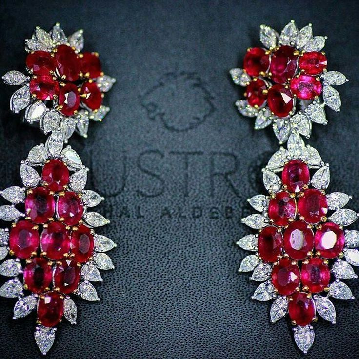 @Remalfala from @lustro_md -  Diamonds rubies earrings