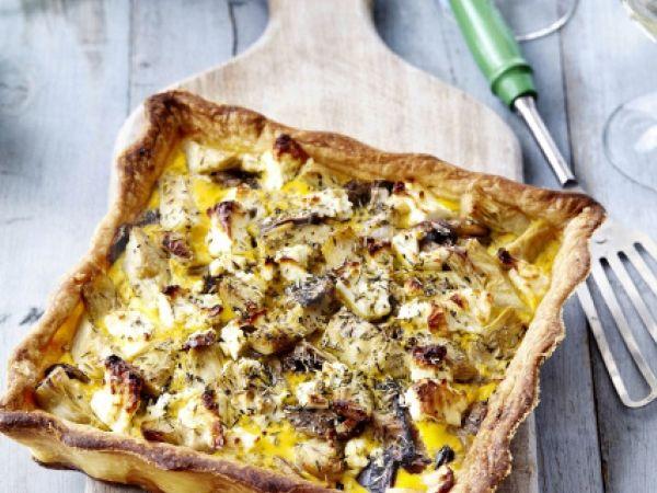 Quiche met artisjok, feta en champignons - Libelle Lekker! Heb hem gemaakt met geitekaas en oesterzwammen