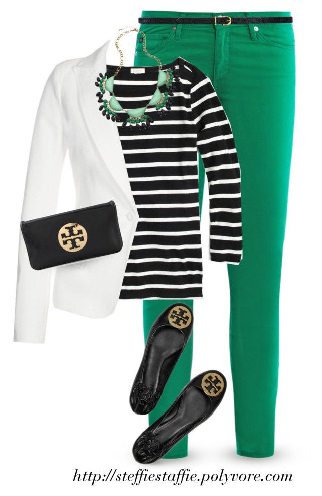 """""""White blazer, Black Stripes & Green"""" by steffiestaffie ❤ liked on Polyvore featuring AG Adriano Goldschmied, J.Crew, Plein Sud, Tory Burch, H&M and Blu Bijoux"""