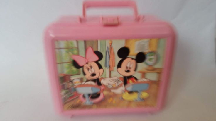 Vintage Lunch Box Minnie and Mickey Mouse Plastic Lunch Box Pink Plastic Lunch Box Made by Aladdin in the USA by ZoomVintage on Etsy