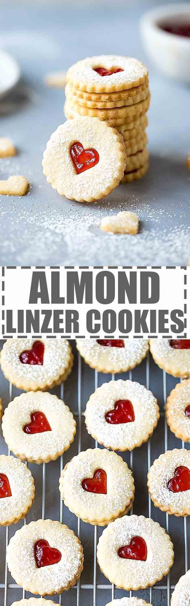 Easy Almond Linzer Cookies Recipe - crunchy and flavorful, filled with strawberry jam and dusted with powdered sugar. Great for Valentine's Day. via @cookinglsl