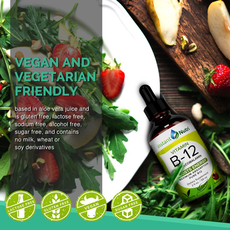 Great tasting InstantNutri vitamin B12 drops that are vegan and vegetarian friendly!