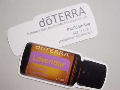 doterra business card shaped like a bottle  Click on the picture to get to the link of the company that actually makes this card!