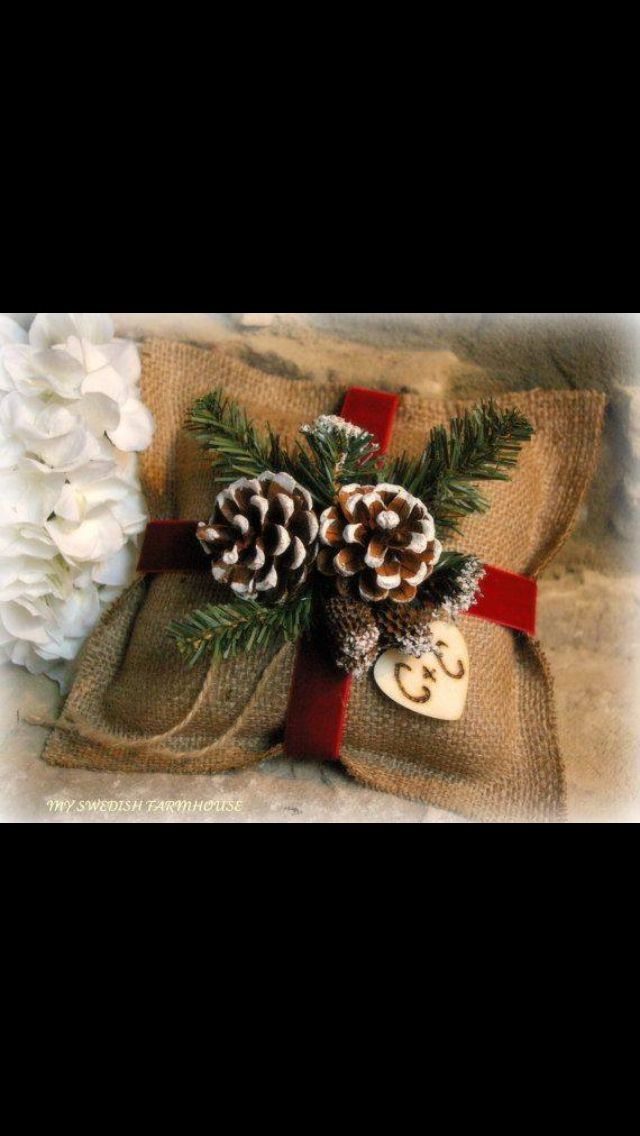 Burlap Ring Bearer Pillow Rustic Christmas Wedding Decor PERSONALIZED Wood  Heart Custom (purple, Teal Light Blue Ribbon And Flower)
