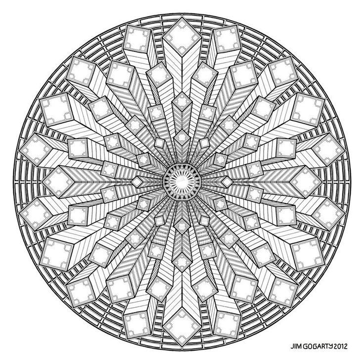 Difficult Level Mandala Coloring Pages | Mandala drawing 38 by Mandala-Jim