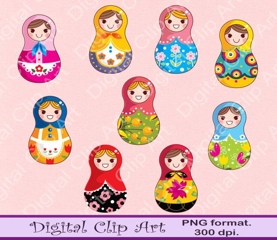 Matryoshka Clip Art Owls Clipart  Instant by digitalcliparts