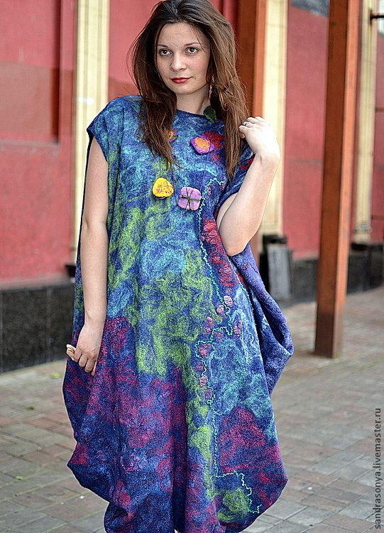 """Купить Платье валяное """"Туманность Ориона"""" - платье, валяное платье, платье валяное, нуно-войлок"""