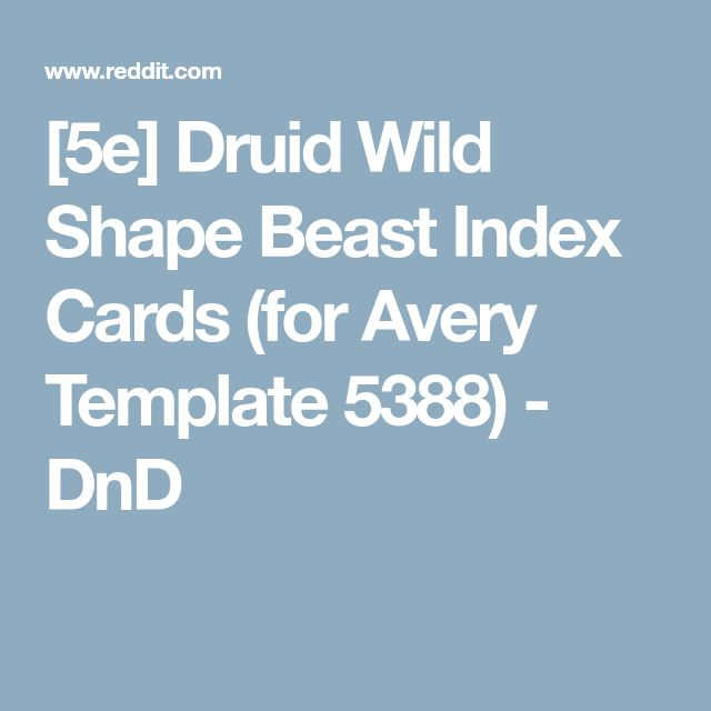 [5e] Druid Wild Shape Beast Index Cards (for Avery Template 5388) - DnD