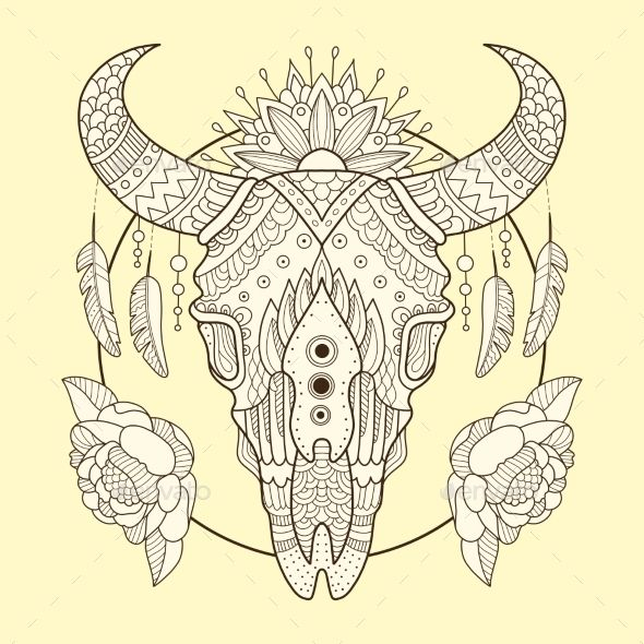 Cow Skull Hand Drawn Vector Illustration Skull Coloring Pages