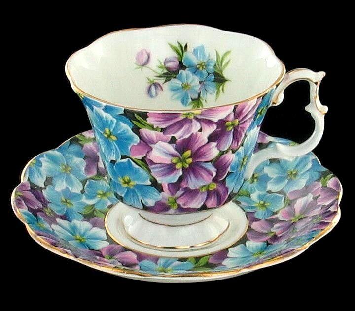 Vintage Royal Albert Bone China Angela Purple Blue Cup