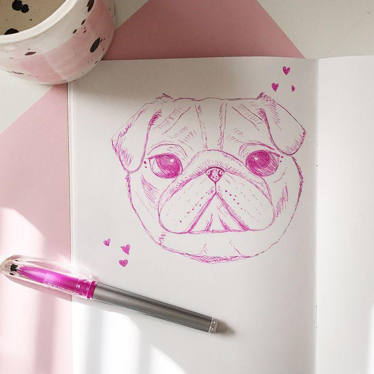 Cute pug pink pet portrait sketch ink drawing