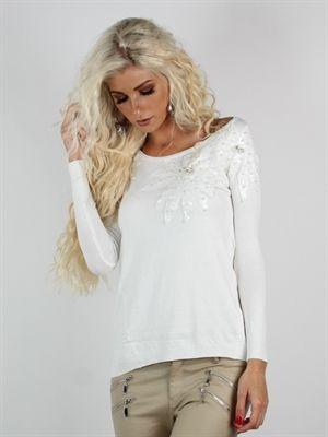 Zanca Sonne - Hvid boheme bluse i lækkert blødt stof med pailletter og perler