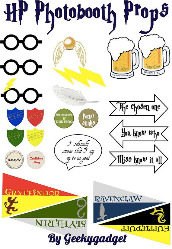 HP Photo booth printables- Harry Potter inspired party decoration, Hogwarts, Halloween - pdf instant download DIY on Etsy, $9.79 AUD