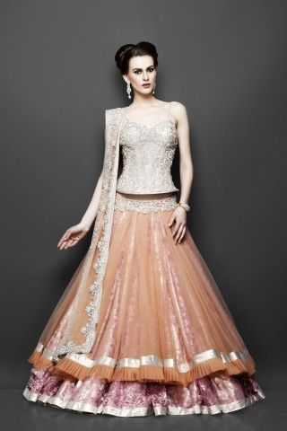 Peach & Pink  western style lehenga with intricate silver embroidery via zarilane.com