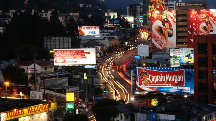 The Sunset Strip, a stretch of Sunset Boulevard between Crescent Heights Boulevard and Doheny Drive,
