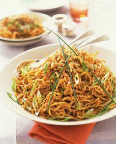 Spicy Sesame Peanut Noodles Recipe - Vegetarian Noodle Recipe - Spicy Vegan Noodle Recipe - Chinese Thai Food - Vegetarian Thai Noodles - use sunflower butter instead for Alexander