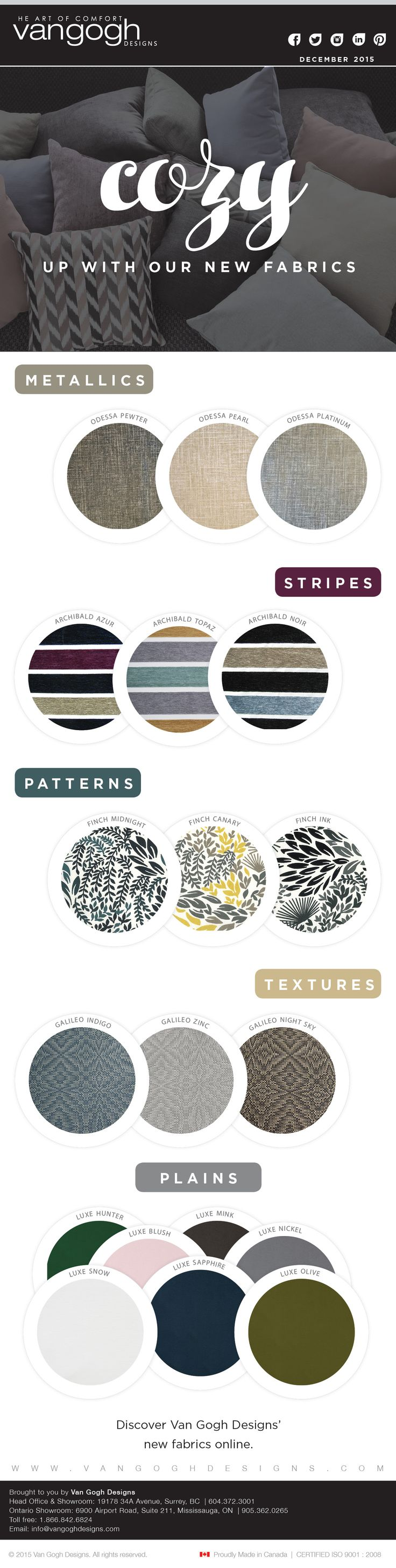 Cozy up with our new fabrics - December 2015  http://www.portfoliointeriors.ca/