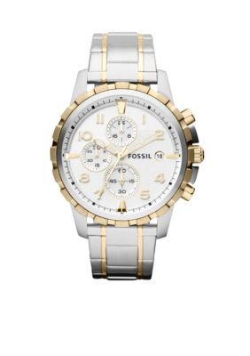 Fossil Men's Men's Silver-Tone And Gold-Tone Stainless Steel Dean Chronograph Watch - Two Tone - One Size