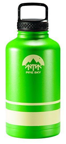 64oz Stainless Steel Growler and Wide Mouth Water Bottle by Pine Sky - 2 Lid Package (64 oz, Longleaf Green). For product & price info go to:  https://all4hiking.com/products/64oz-stainless-steel-growler-and-wide-mouth-water-bottle-by-pine-sky-2-lid-package-64-oz-longleaf-green/