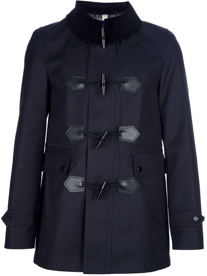 $2,533, Navy Duffle Coat: Burberry London Duffle Coat. Sold by farfetch.com. Click for more info: https://lookastic.com/men/shop_items/606/redirect