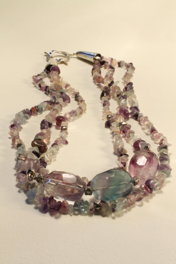 Chunky Rainbow  fluorite Necklace 30  3 by HavenHummingbird, $55.00