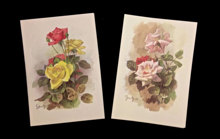 NANTUCKET ROSE NOTE CARD LOT Red Yellow Roses 16 Cards 2 Designs SILVIO BONELLI #NantucketNotes
