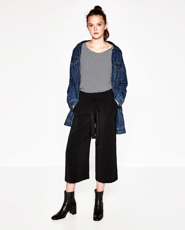 Image 1 of FLOWING CROPPED TROUSERS from Zara