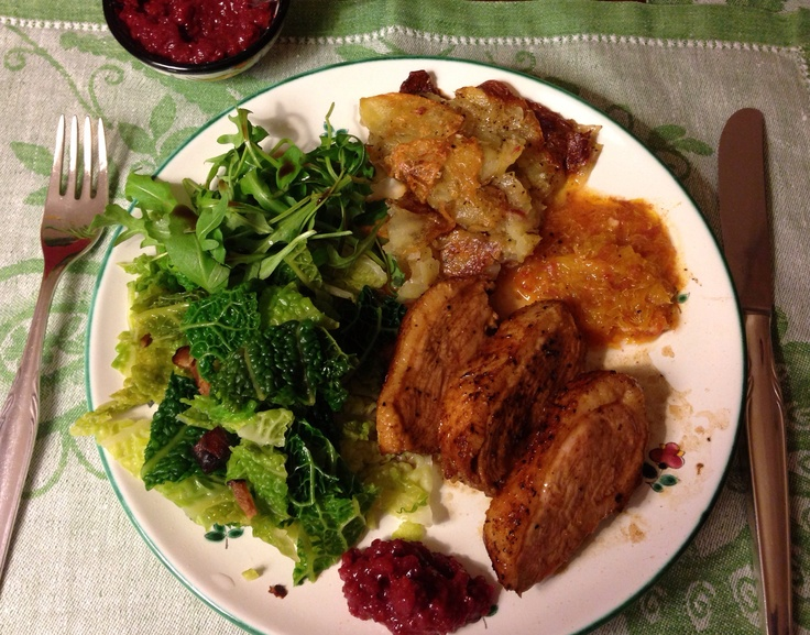 Barbarie duck breast, medium to well, with cabbage and goat cheese potatoe bake, rocket salad, orange salsa and Dirndl chutney. by Ingrid