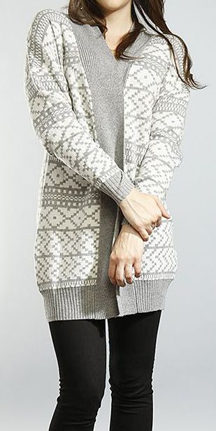 Ivory & Gray Tribal Jacquard Knit Cardigan