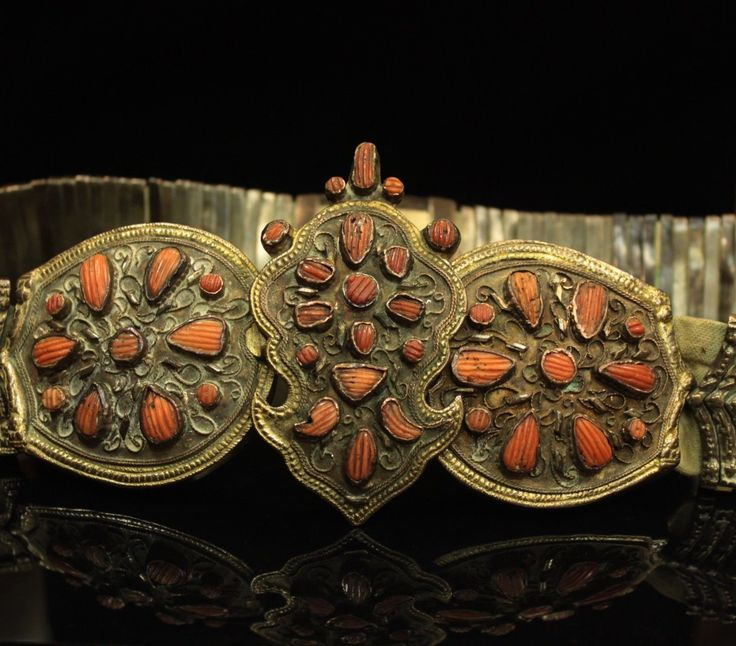 ANTIQUE OTTMAN PERFECT HAND MADE BRASS SILVER ORIGINAL CORAL DECORATED BELT
