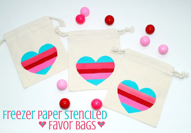 DIY with freezer paper -Stenciled favor bags Delightfully Noted ...