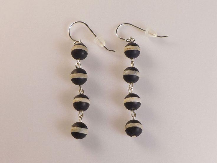 Agate 4 Beads Earrings