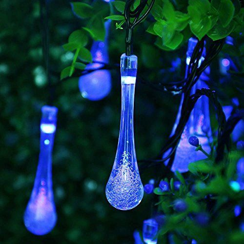 Solar Outdoor String Lights Icicle 15 7 Ft 8 Light Modes 20 Water Drop Blue Leds