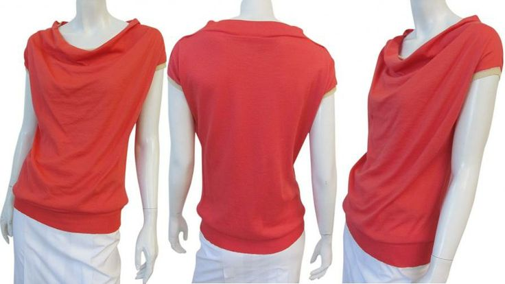 Made in Italy: right red cotton t-shirt, kimono short sleeve, beige edges, simpled line, wide and draped neckline, fit in waist with band on sale. #Women #Fashion #Top