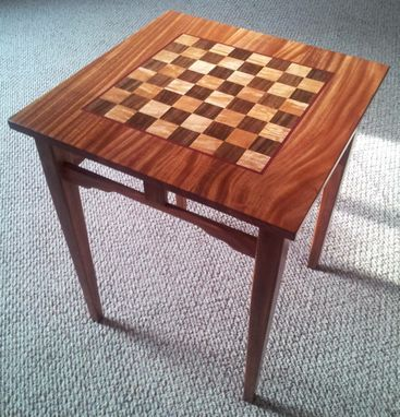 A Small Chess Table In Ribbon Stripe African Mahogany, Big Leaf Oregon  Maple, Claro Walnut, Purpleheart. I Cut And Glued Up The Chess Board, Then  Routed A ...