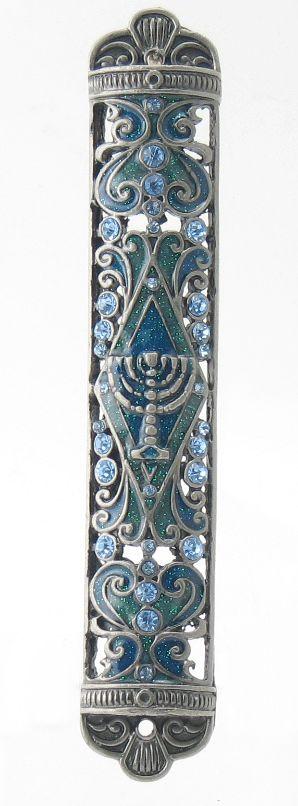 Sparkling Menorah Mezuzah - Judaism.com