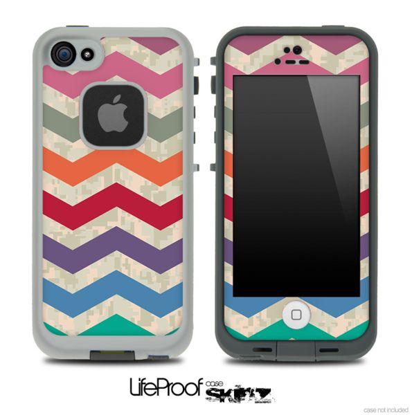camo lifeproof case iphone 5c vintage colorful digital camo chevron pattern for the 16751
