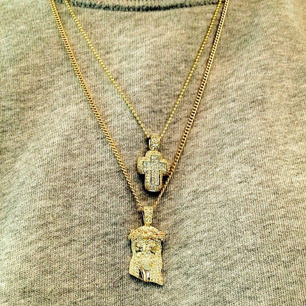 Micro-Jesus Piece with 18k Gold Cuban Link Chain