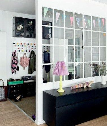 old windows ~ use an old large window and a knee wall to create a mud room