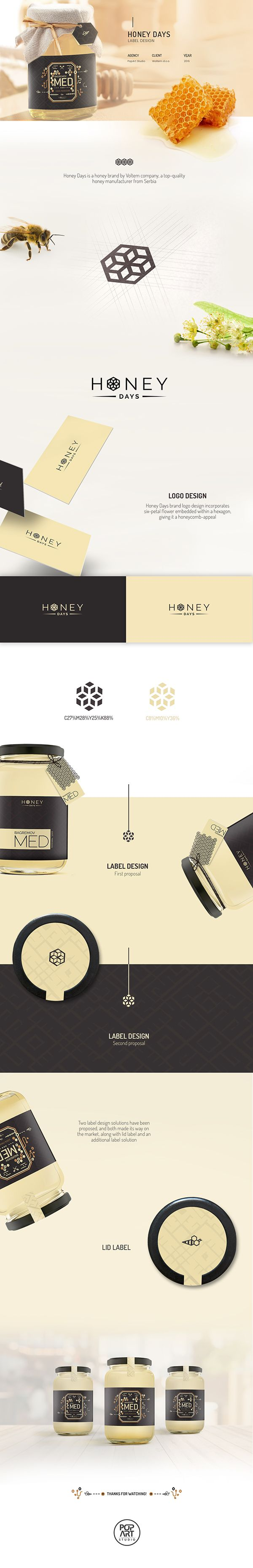 Logo design and label design for the packaging of Honey Days, a honey brand by Voltem company, a top-quality honey manufacturer from Serbia. The logo consists of a six-petal flower embedded within a hexagon, giving it a honeycomb appeal. Two packaging labels have been proposed, and both accepted, along with lid label and additional label design solutions. #branding #graphicdesign #packaging #packagingdesign #honey #logodesign #labels