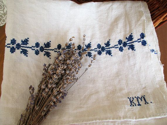 257. Pure flax linen hand embroidered towel guest toweltea