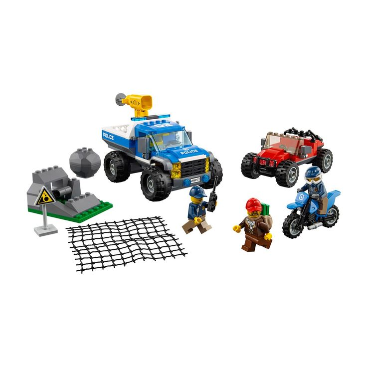 Pick up your badge and join the LEGO® City Mountain Police officers on the Dirt Road Pursuit! This thrilling and fun toy set features a police 4x4 with minifigure cab and net shooter, police motocross bike, crook's 4x4 with loot space in the back and a rockslide element with boulder release function. Includes 3 minifigures.<br>• Race after the crook and avoid the mountain rockslide!<br>• Fun LEGO® City Police building toy set<br>&b...