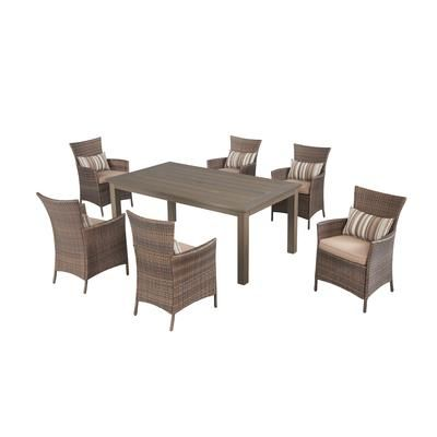 Hampton Bay Tacana 7pc Wicker Dining Set Frs50421hp St Home Depot Canada For The