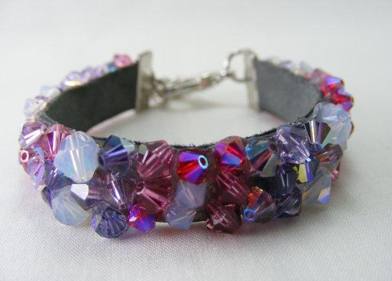 """Cupcake Cutie""  Designer Swarovski Crystal Bracelet. AB Crystals, Purple, Pink, White, Rainbow effect. Sparkle the night away with this piece! By: Love2get, $40.00"