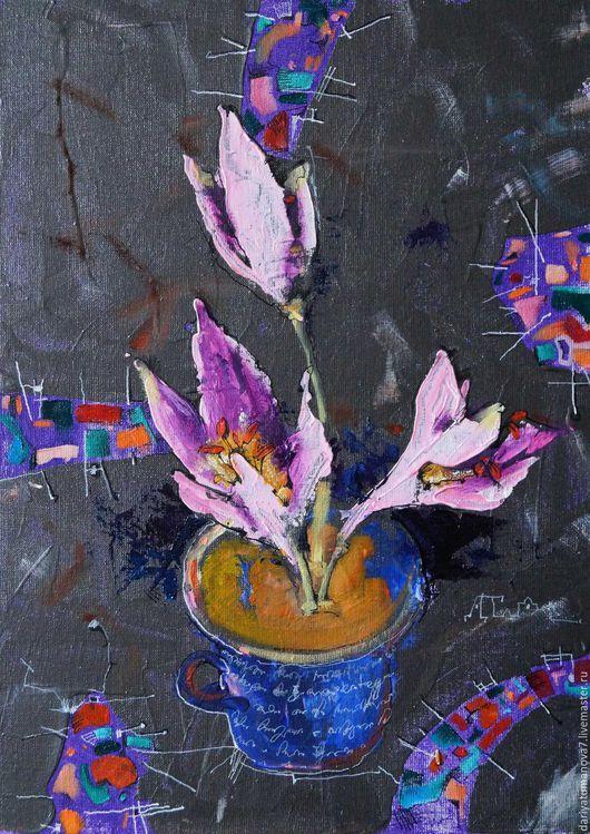 Картины цветов ручной работы. Ярмарка Мастеров - ручная работа. Купить Осенние цветы. Handmade. Черный, акриловые краски