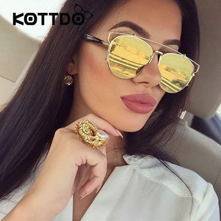 Fashion Women Flat Top Sunglasses Woman Brand Designer Super Star Oversized Mirror Sun Glasses Ladies Celebrity Sunglasses UV400 #Affiliate