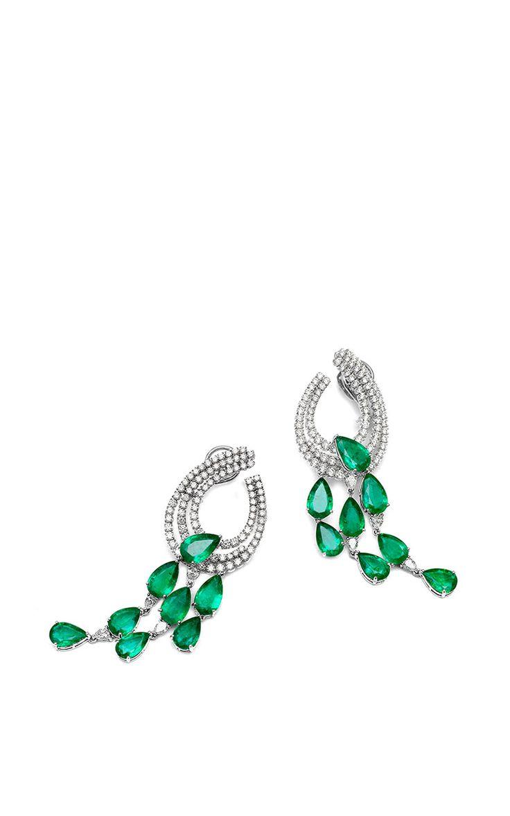 Farah Khan Zambian Emerald Drop Earrings by Farah Khan Fine Jewelry for Preorder on Moda Operandi