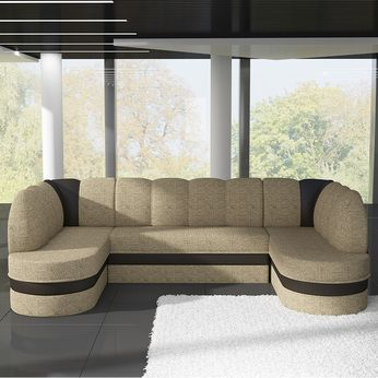 meuble de salon, canapé, canapé d angle bicolore - Sofamobili