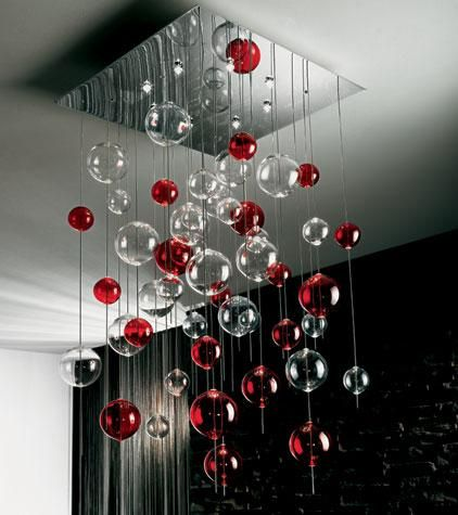 Dining room chandelier: Dining Rooms, Decor Ideas, Clear Glasses, Modern Glass, Ceilings Lights, Bubbles Ceilings, Glasses Bubbles, Lamps Lights, Bubbles Ball